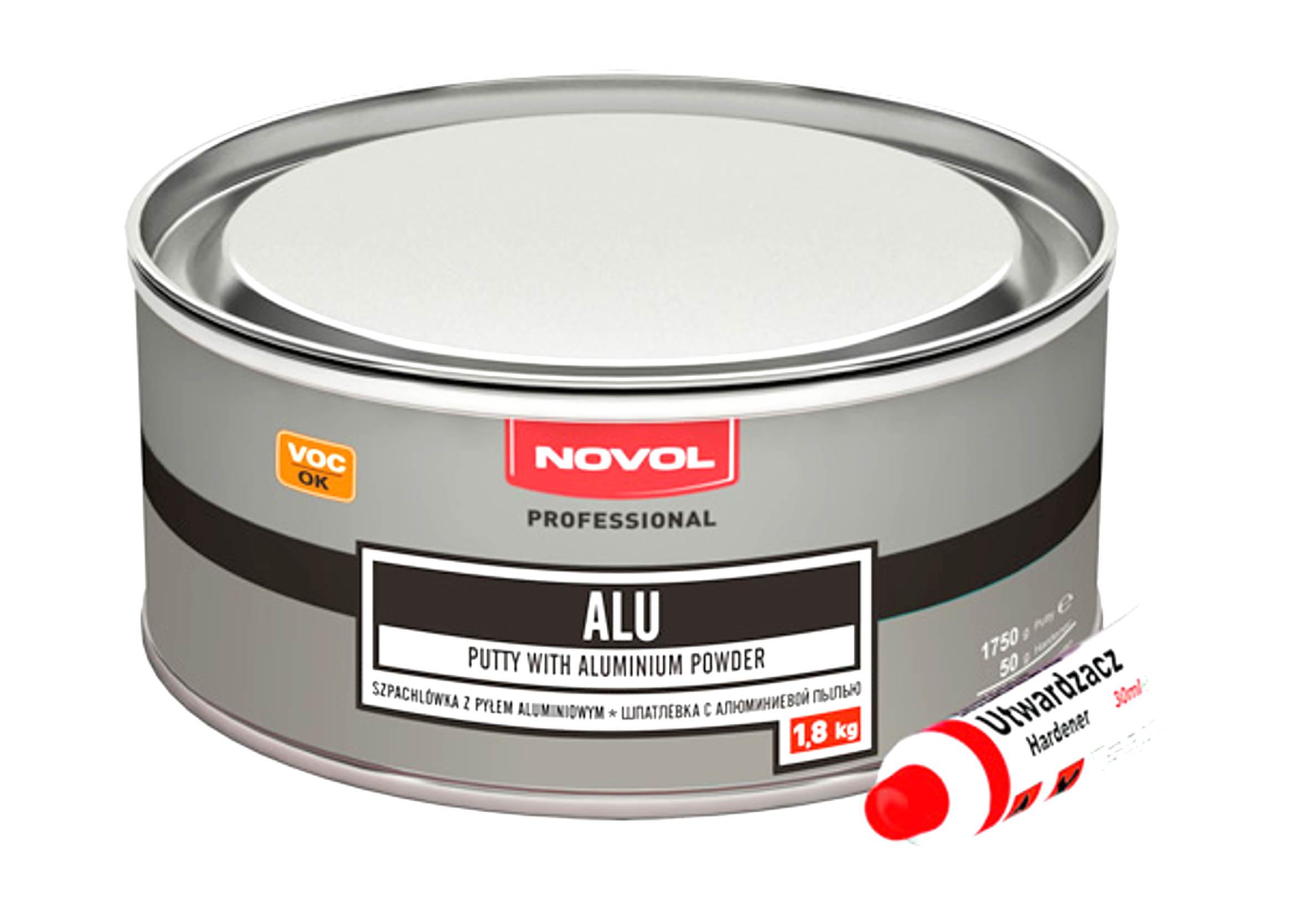 Novol ALU 1,8kg Szpachla z pyłem aluminiowym samochodowa szpachlówka 1800g