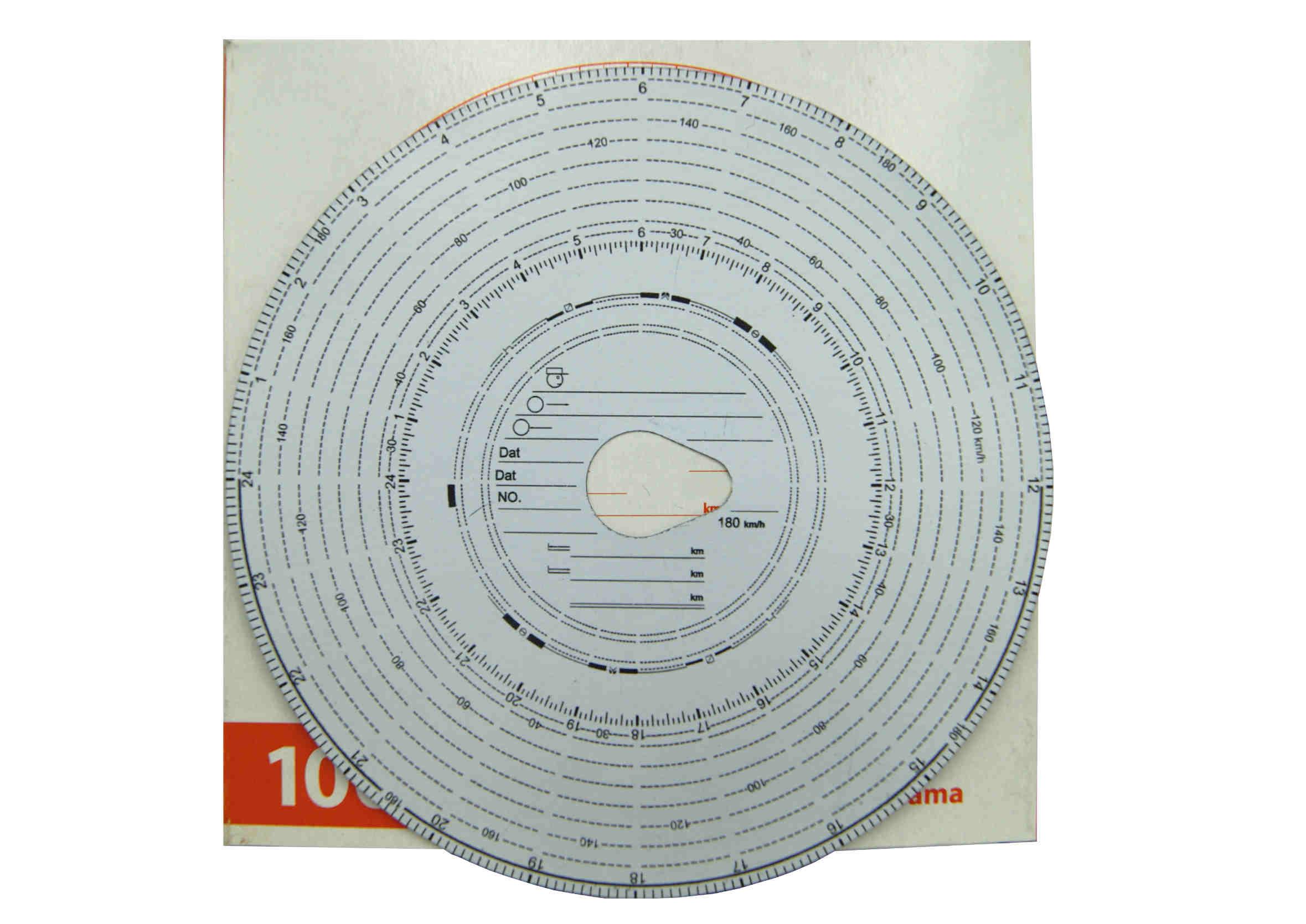 Tarczki do tachografu 180 km/h 100szt wykresówki