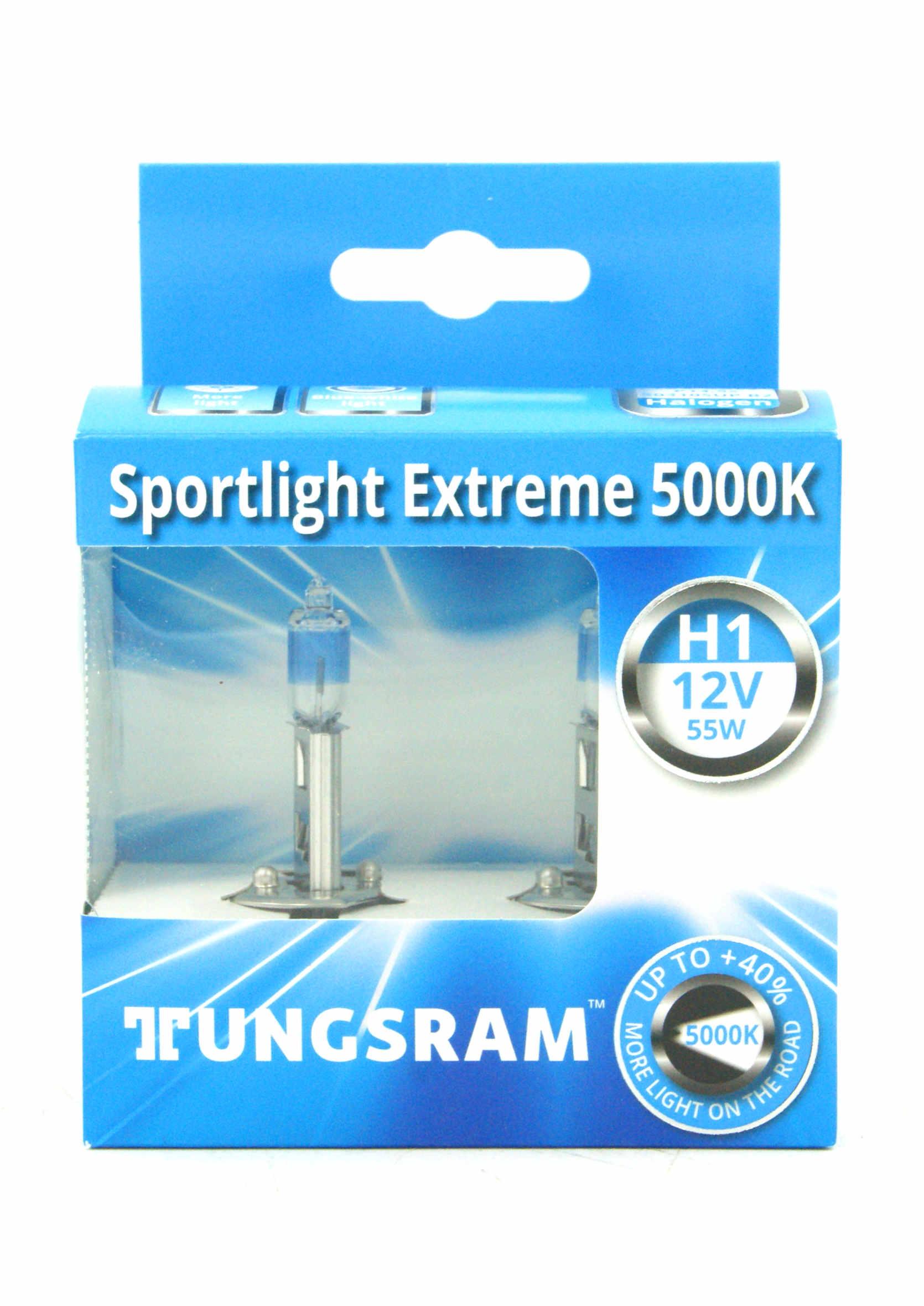 Tungsram Sportlight Extreme +40% H1 12V 55W P14,5s Żarówki Samochodowe 5000K 2szt.