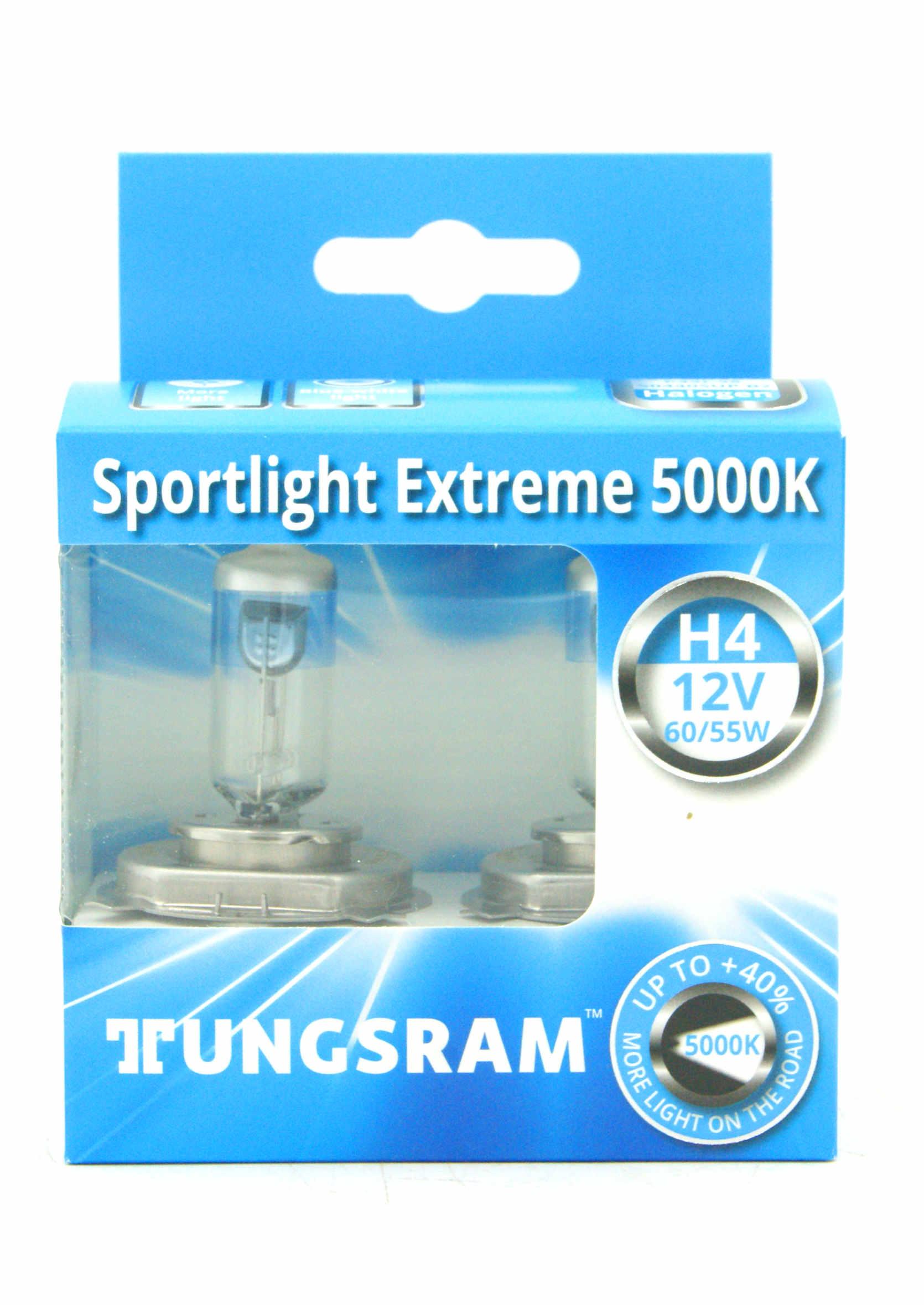 Tungsram Sportlight Extreme +40% H4 12V 60/55W P43t Żarówki Samochodowe 5000K 2szt.