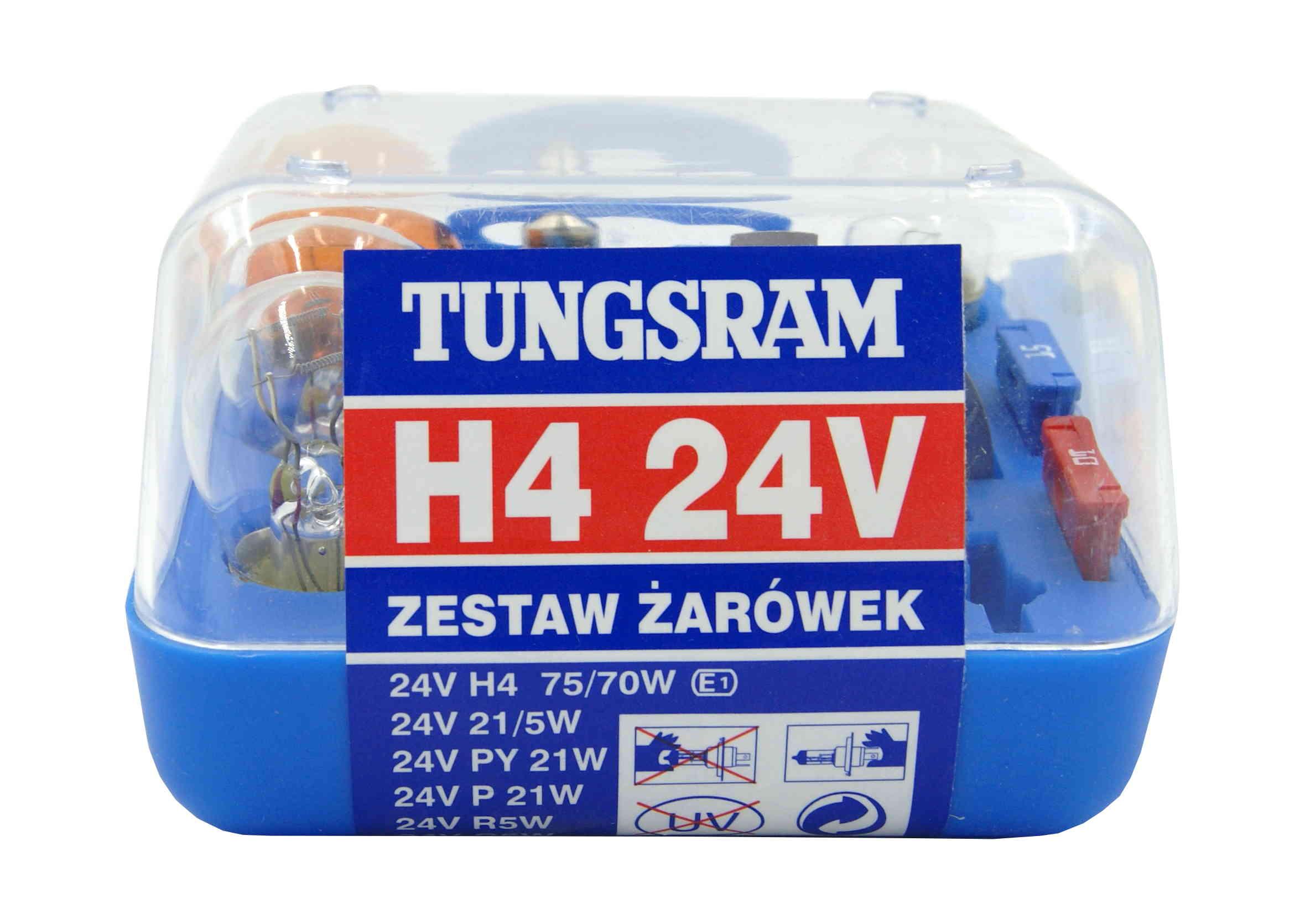 Zestaw żarówek H4 24V z bezpiecznikami do Tira Tungsram