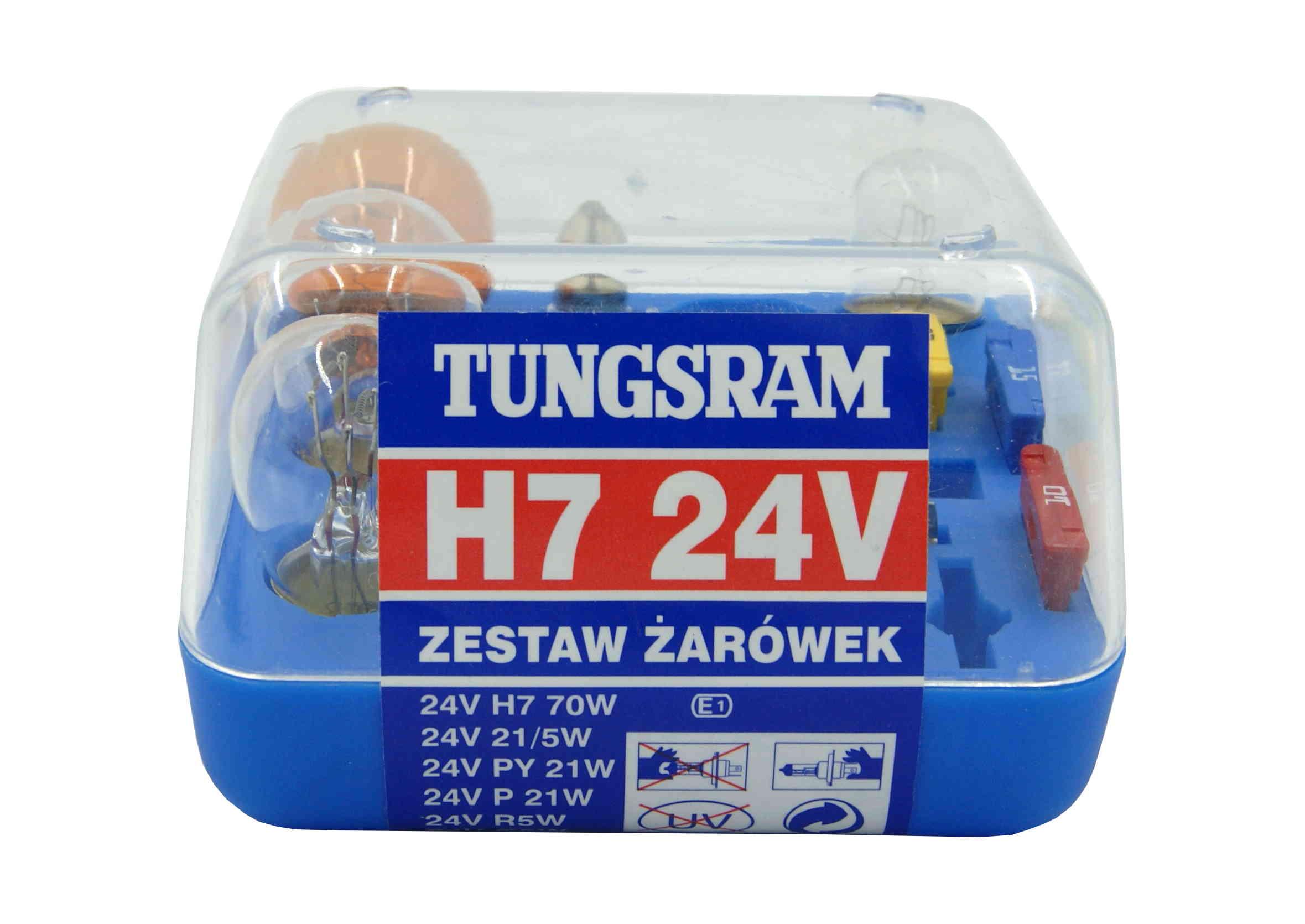 Zestaw żarówek H7 24V z bezpiecznikami do Ciężarówki Tungsram