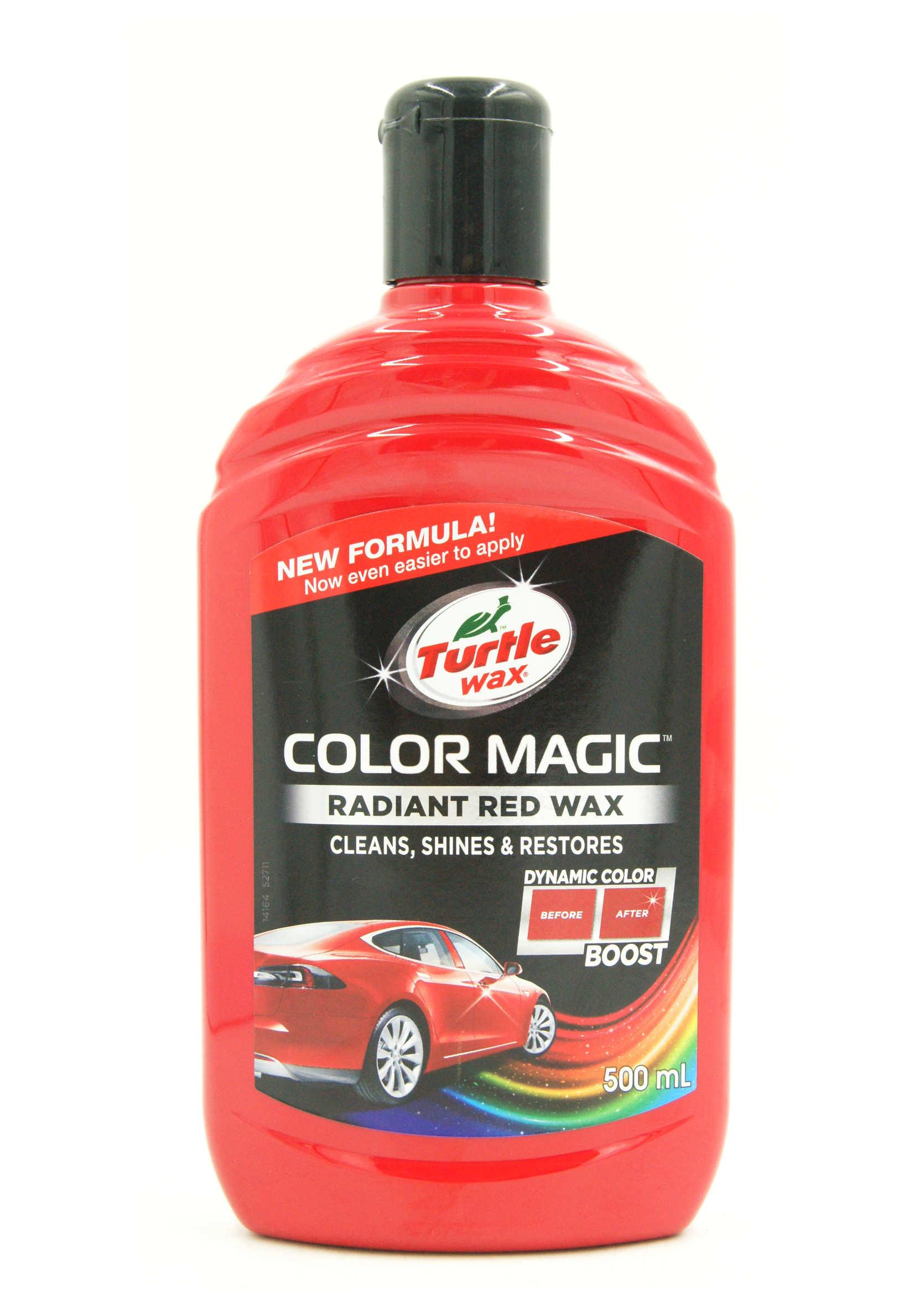 Wosk koloryzujący Czerwony 500ml + kredka do rys Turtle Wax Color Magic