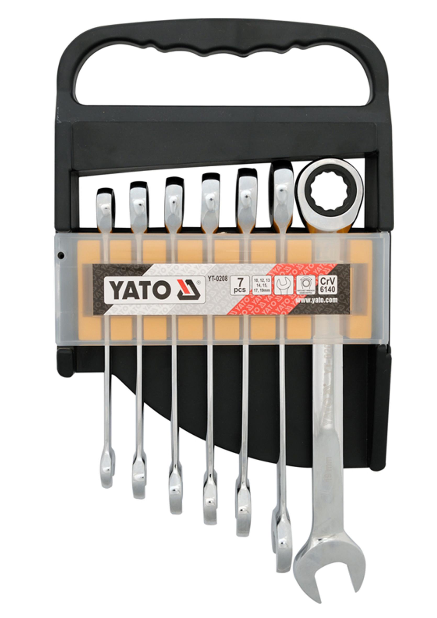 Yato YT-0208 Klucze Płasko-Oczkowe z Grzechotką 10-19mm 7szt