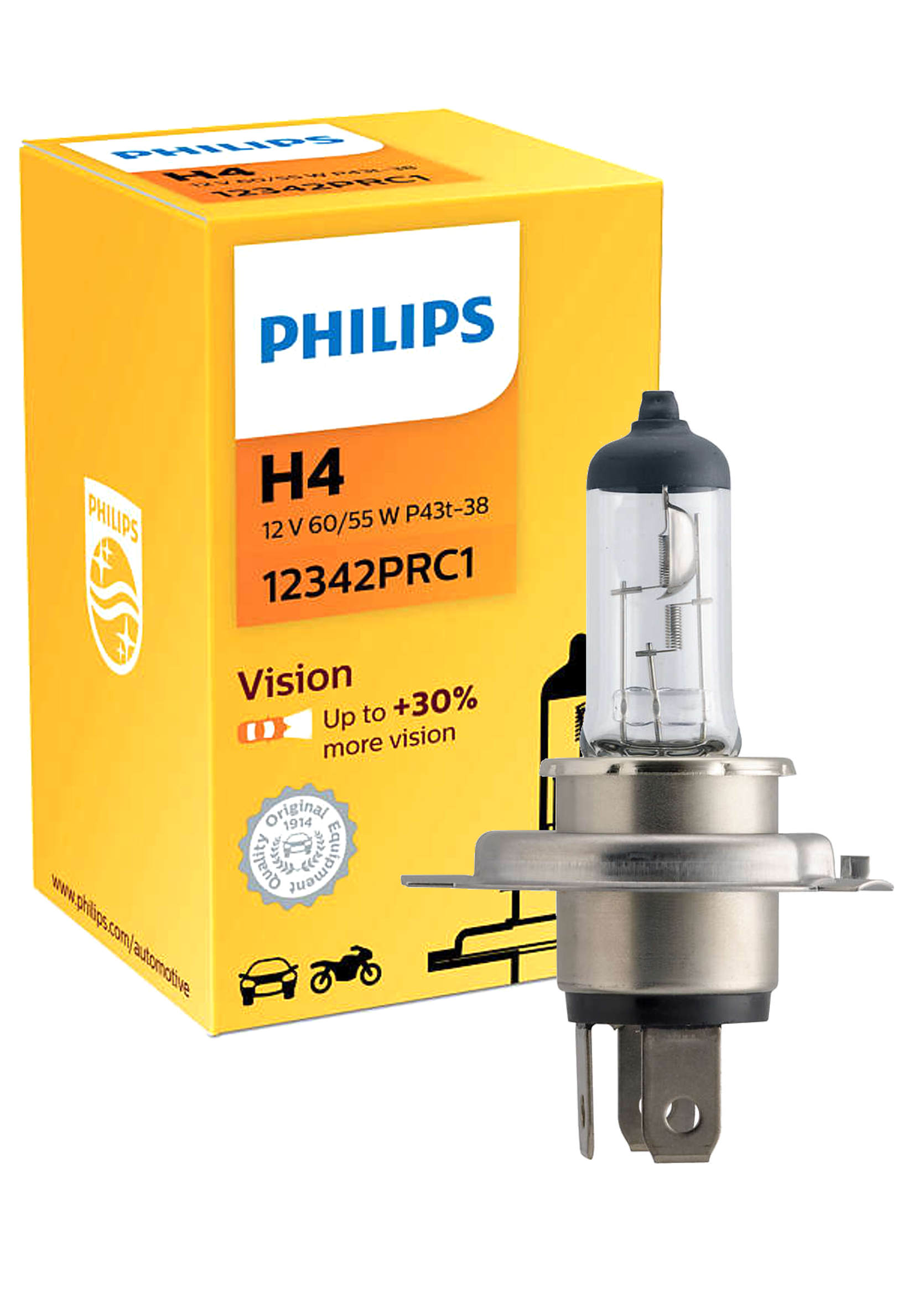 Philips Premium Vision 12V H4 60/55W P43t-38 +30% Żarówka Samochodowa