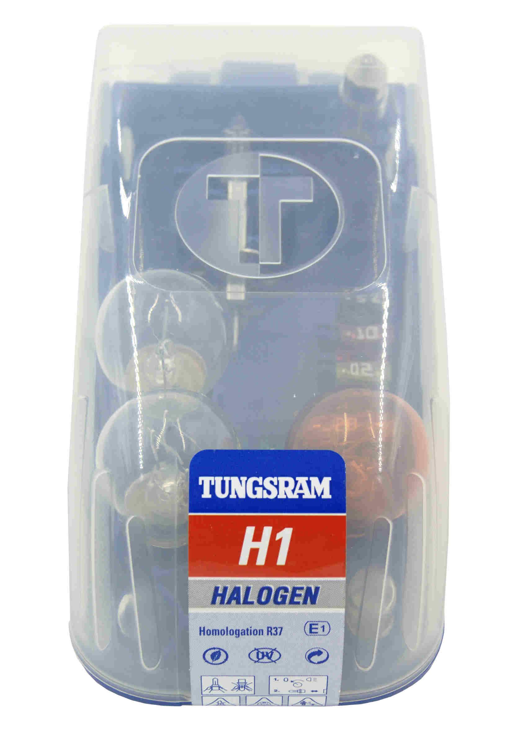 Tungsram H1 12V 55W P14.5s Zestaw Żarówek Samochodowych Zapasowych z Bezpiecznikami