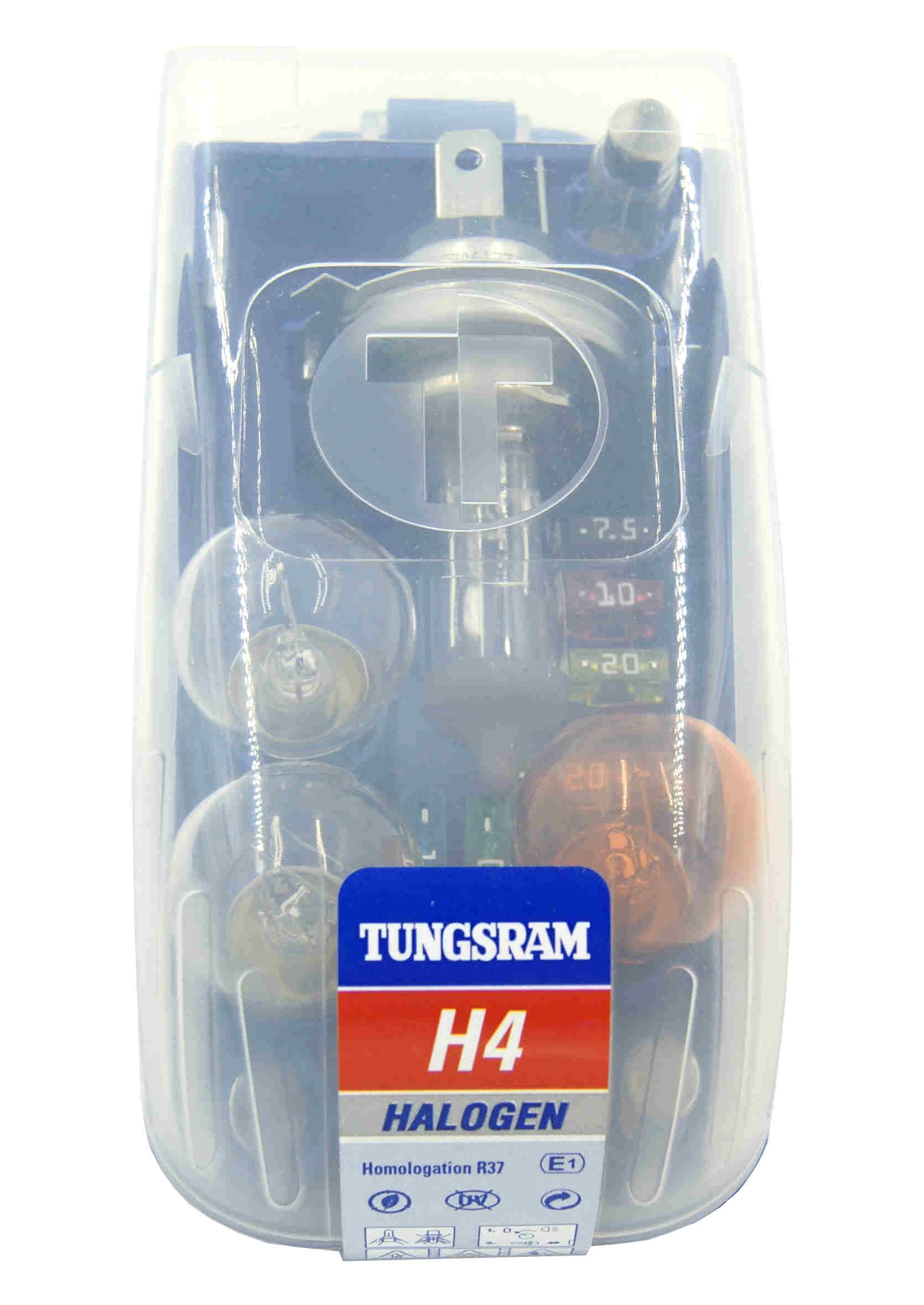 Tungsram H4 12V 60/55W P43t Zestaw Żarówek Samochodowych Zapasowych z Bezpiecznikami